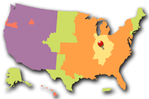 US map with color delivery zones