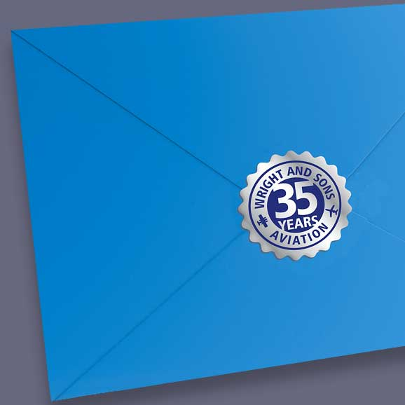 Envelope with shiny silver seal