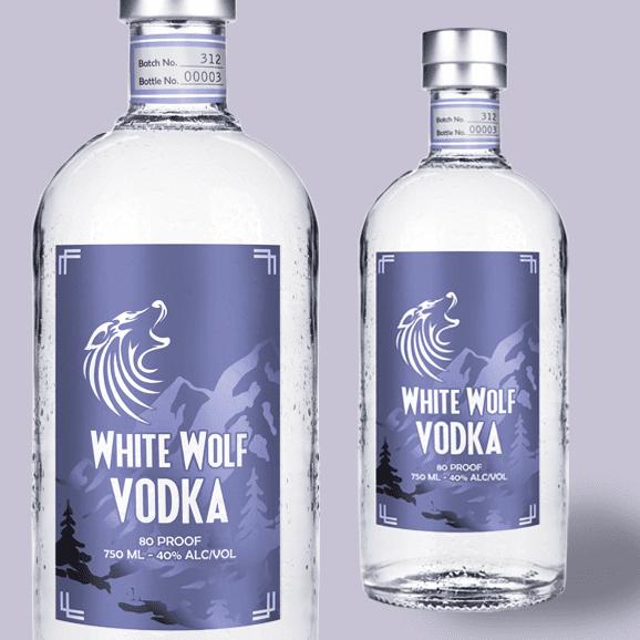 Two vodka bottles with faux foil labels
