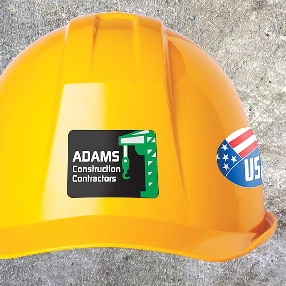 Hard hat with two labels