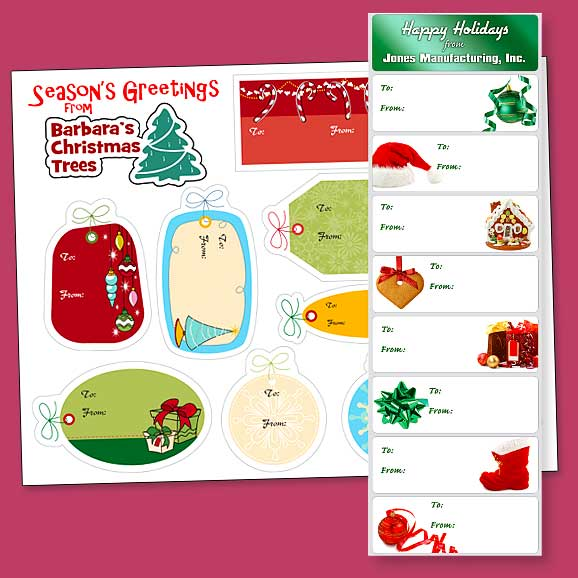 Image of two different Christmas gift label sheets