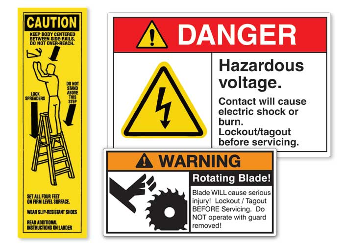 Grouping of three different safety labels