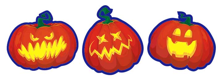 Three laser-cut Jack-o-lantern labels