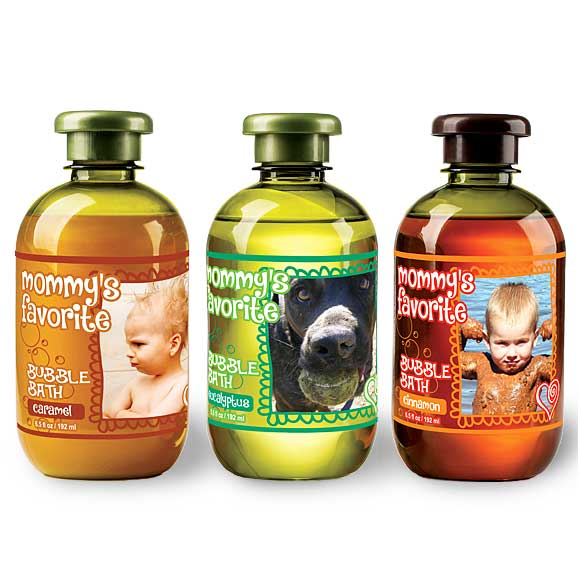 Three bubble bath bottles with variable design elements