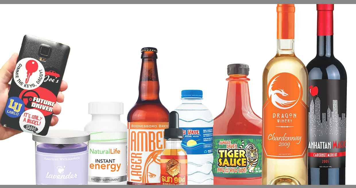 Group of products with labels