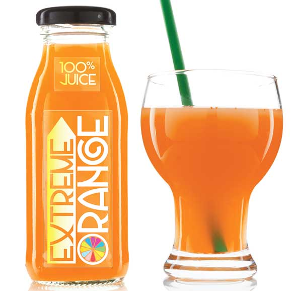 Orange juice bottle and glass