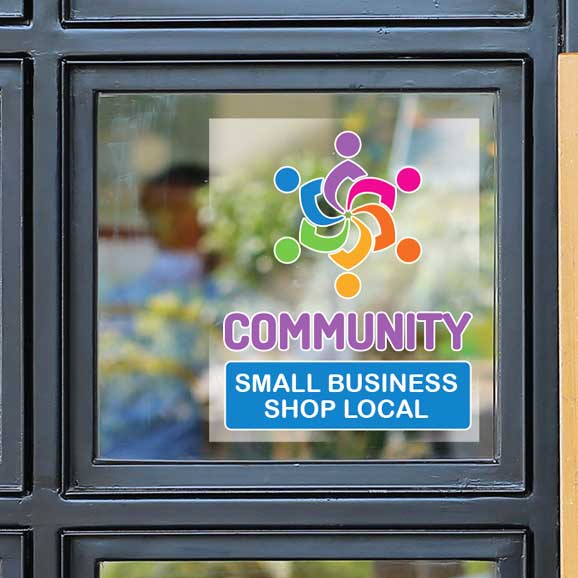 Business window with colorful label on clear vinyl