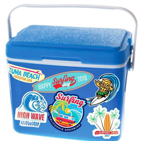 Blue cooler with various color labels