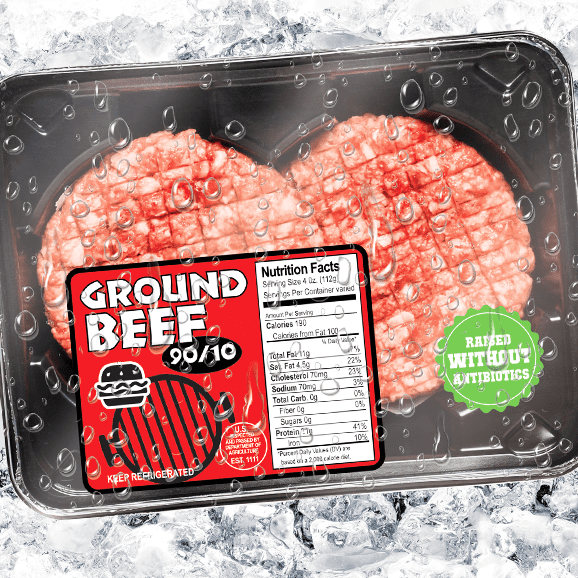 Meat package with 2-color label