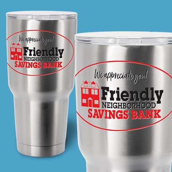 Two steel tumblers with clear labels